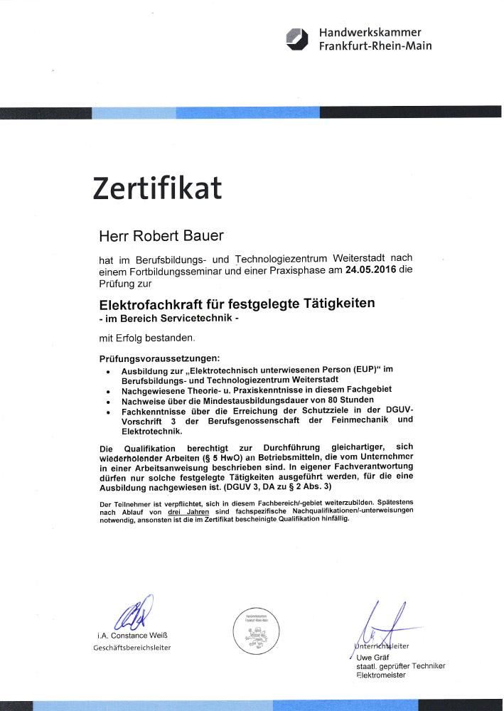 Bauer-Zertifikat-Installation & Pumpenservice